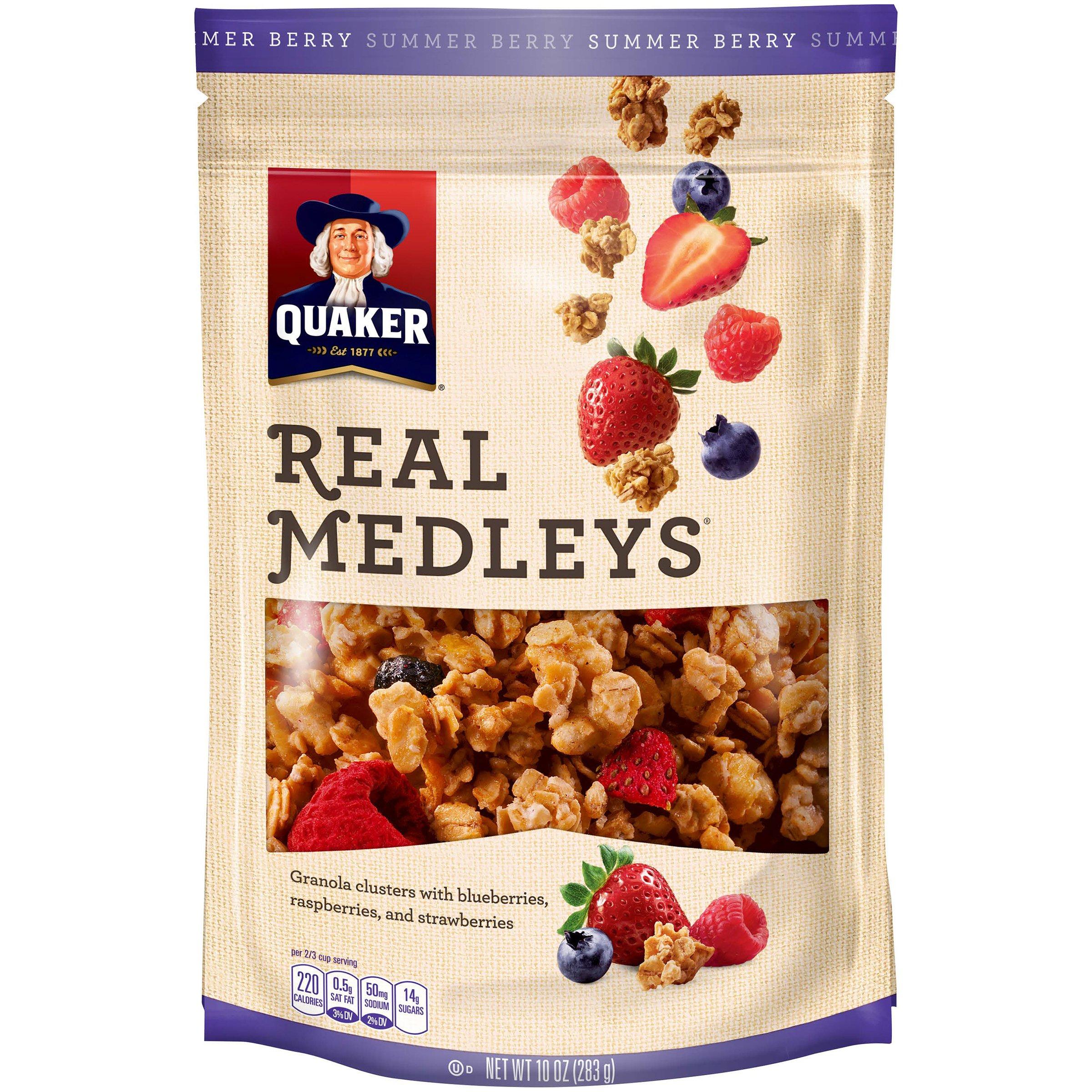 Quaker Real Medleys Granola, Summer Berry, 10 oz Bag