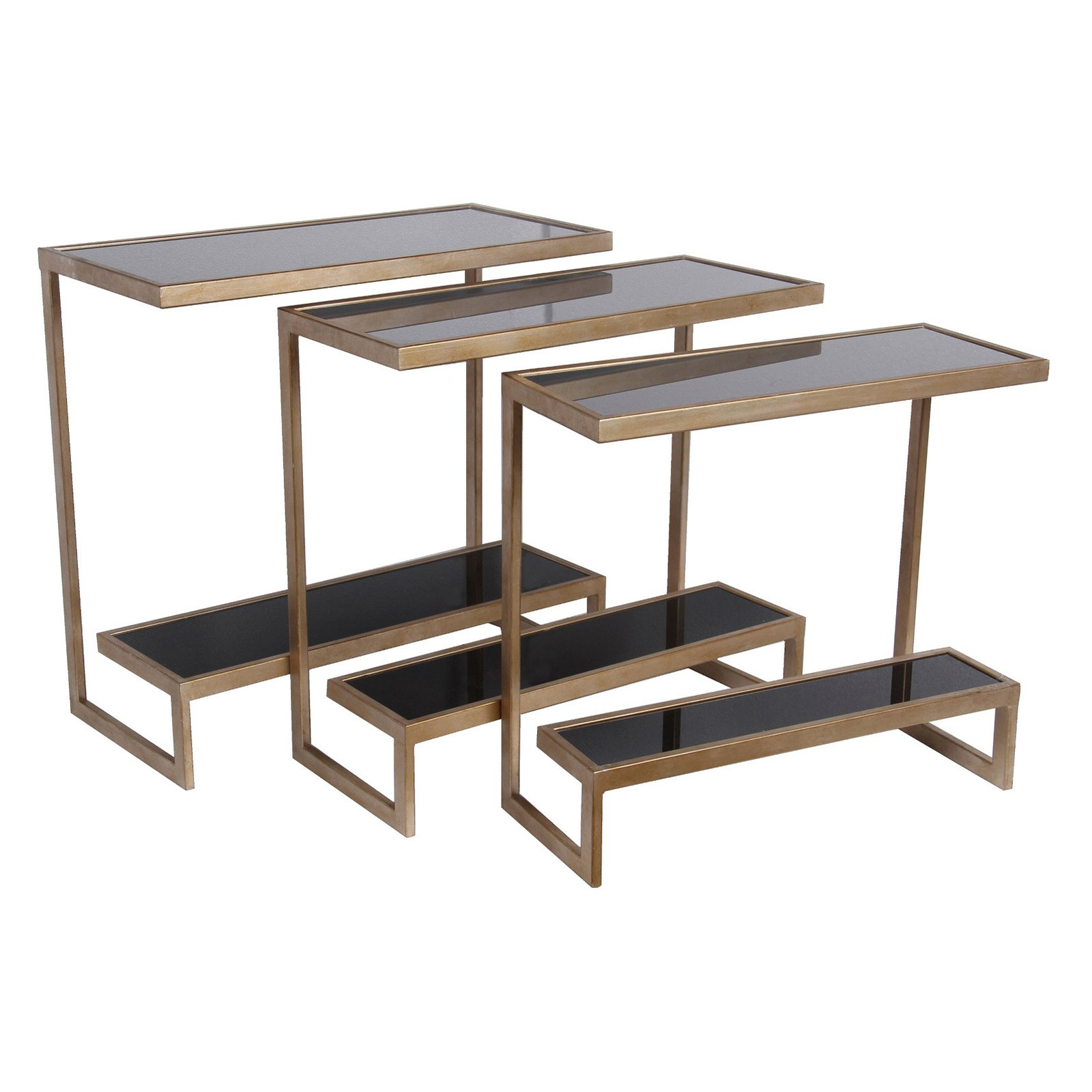 Privilege International Accent Tables - Set of 3 - Black and Gold