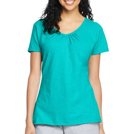 Hanes Womens Slub Jersey Shirred V Neck T Shirt
