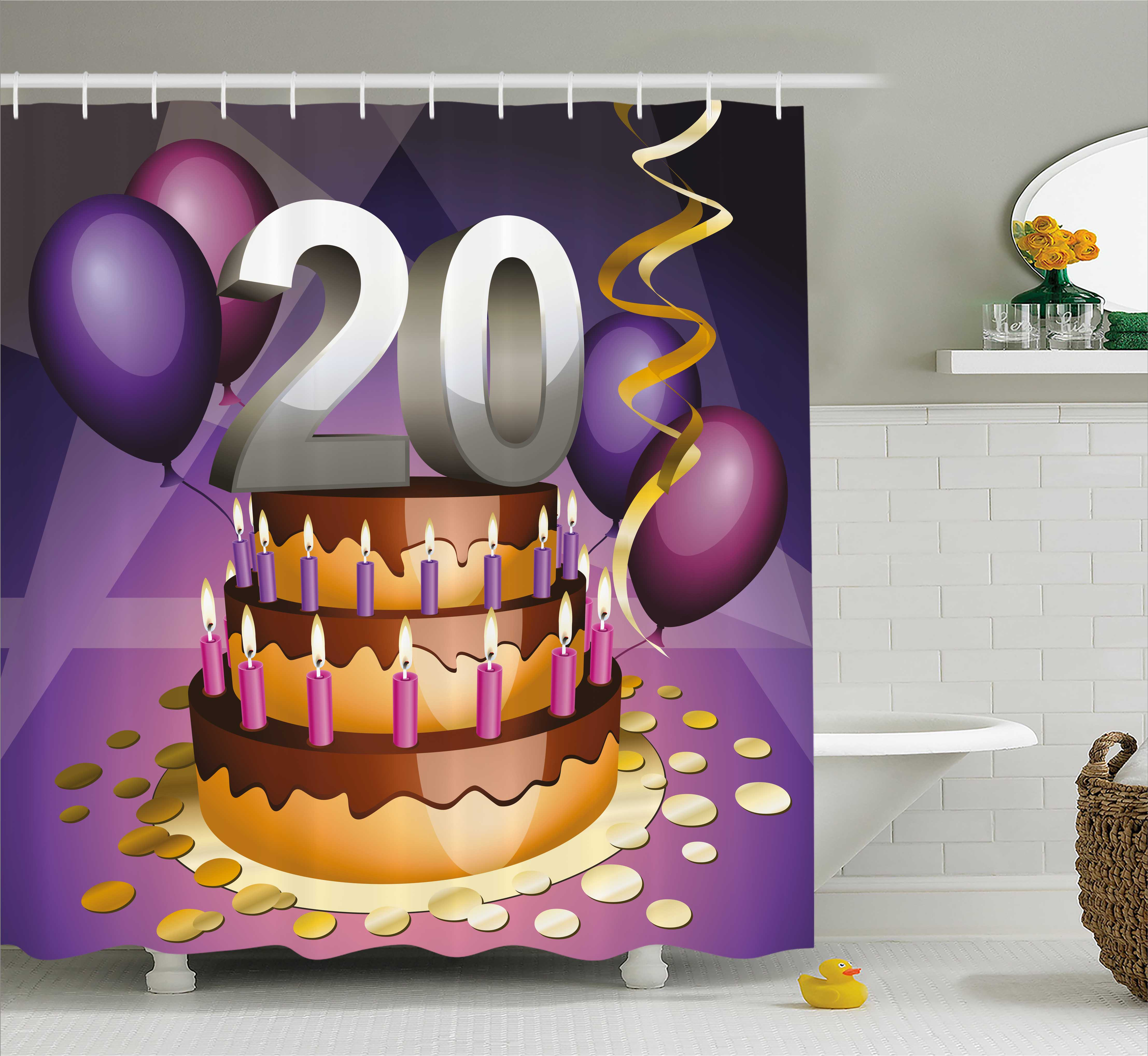 20th Birthday Decorations Shower Curtain Cartoon Print Cake Golden Frosting And Candles Fabric Bathroom Set With Hooks 69W X 84L Inches Extra