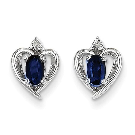 Sapphire 21 Jewels (14k White Gold 5x3 Oval Genuine Sapphire Diamond Earrings. Gem Wt- 0.73ct (0.6IN x 0.3IN)