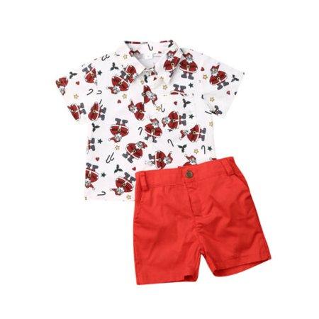 Pudcoco Toddler Baby Boys Kids Santa Shirt Tops+Pants Shorts Christmas XMAS Outfits Sets