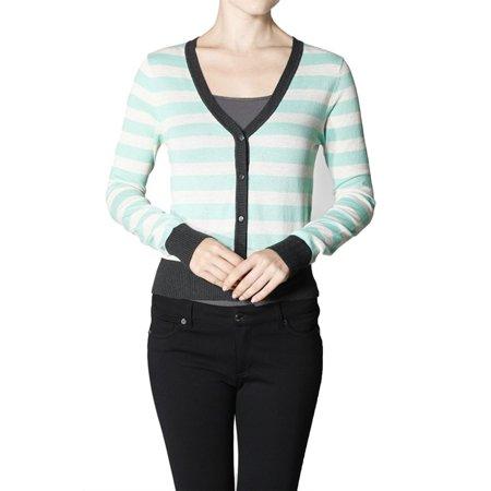 Emmalise Junior Women's Classic Basic V Neck Stripe Cardigan Sweater Top
