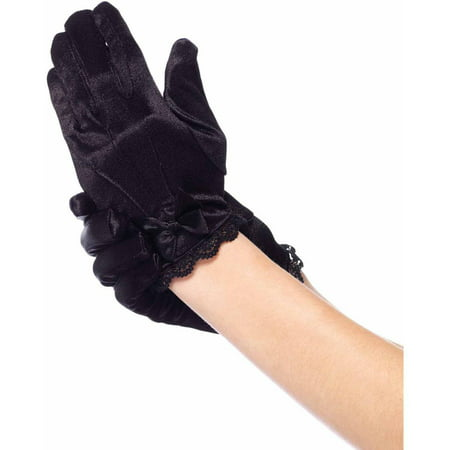 Leg Avenue Lace Trimmed Satin Gloves Child Halloween Accessory - Leg Avenue Lace Glove