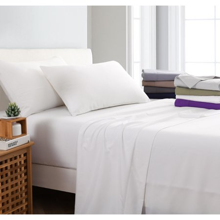 Fitted Flat Sheet Pillow Case King Queen 4PC White Microfiber Polyester 1200TC