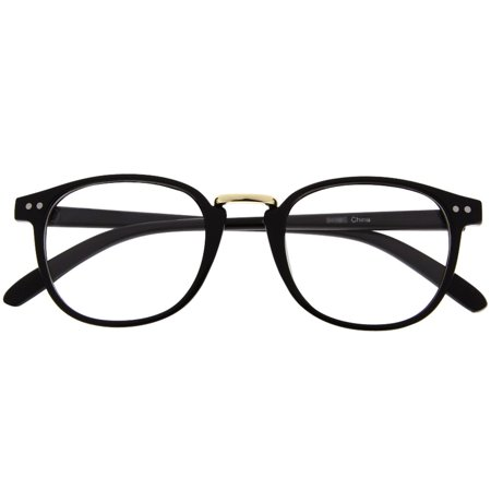 Retro Vintage Style Clear Lens Eye Glasses Hipster Cool Nerd Smart Oval Round, Black - Nerd Galsses