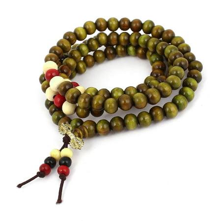 Unique Bargains Wooden 108 Round Beads 80cm Girth Buddha Buddhism Buddhist Necklace Oliver Green