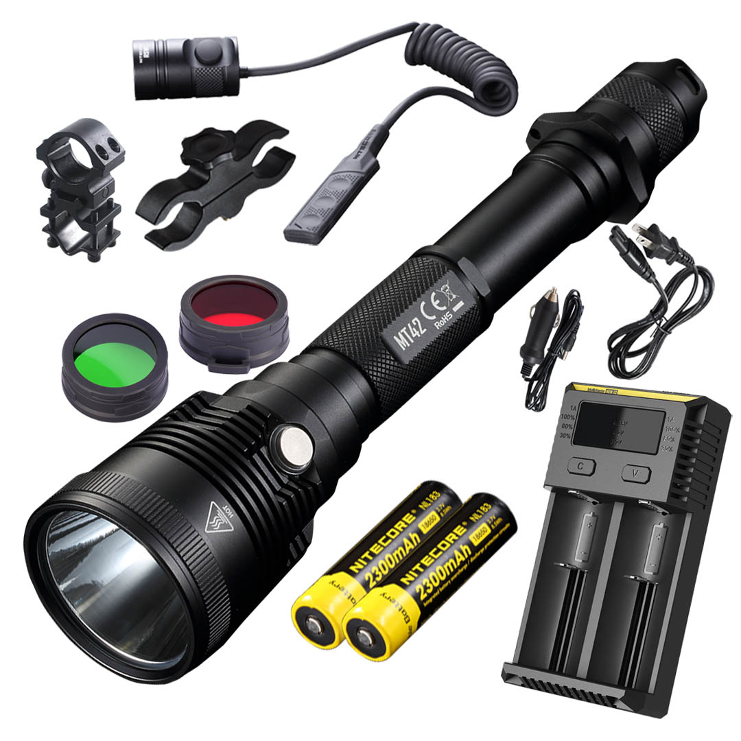NITECORE MT42 1800 Lumen Long Throw Hunting & Search Flashlight with LumenTac Rifle Mounting Kit for Hog, Coyote & Varmint Hunting