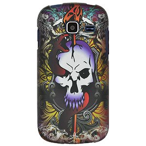 Rubberized Protector Hard Shell Snap On Case For Cricket Samsung Transfix Sch R730  Samsung Transfix Sch R730   Skull   Dagger
