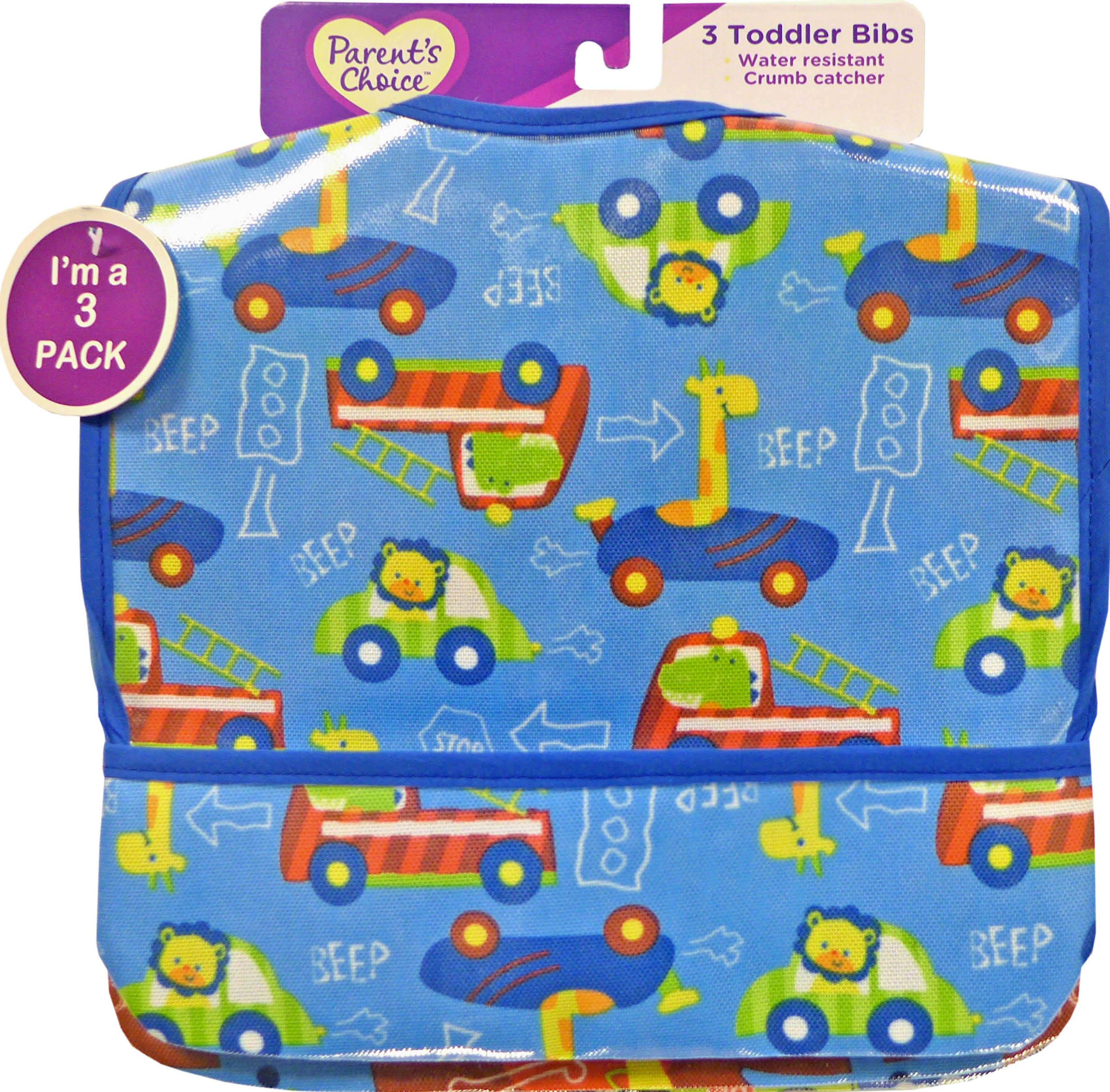 Parents Choice 3 Pk Canvas Bibs For Boys