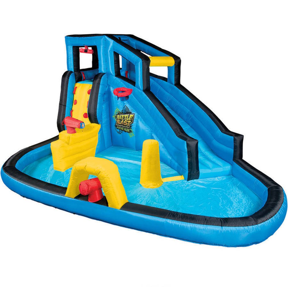 Banzai Kids Inflatable Outdoor Battle Blast Adventure Water Park Slide and Pool