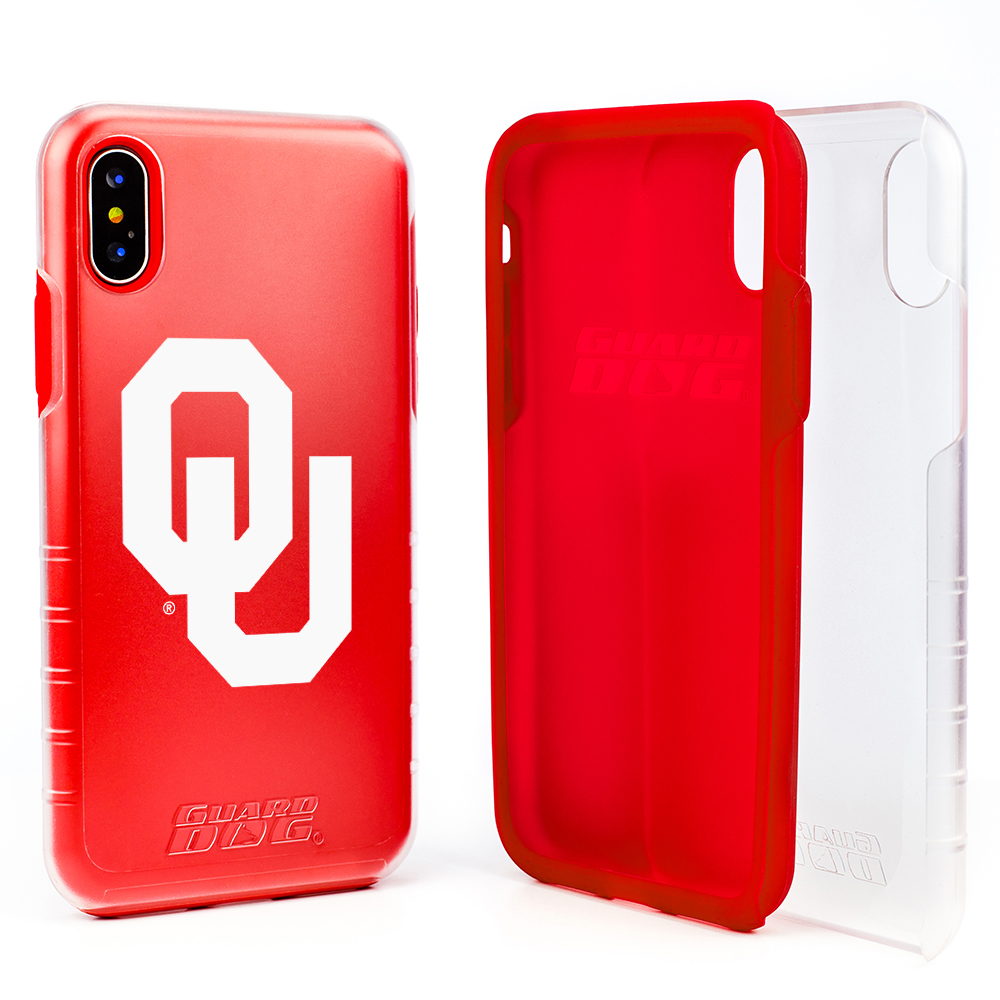 Oklahoma Sooners Clear Hybrid Case for iPhone X / Xs with Guard Glass Screen Protector - Clear with Red
