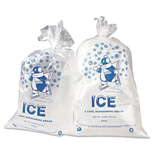 Ice Bag, 11 x 20, 8lb Capacity, 1.5mil, Clear/Blue, 1000/Carton