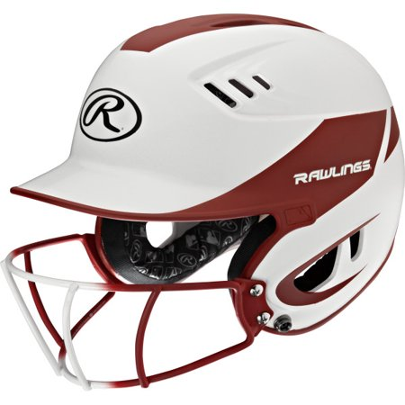 Rawlings Velo Junior 2-Tone Softball Batting Helmet w Faceguard