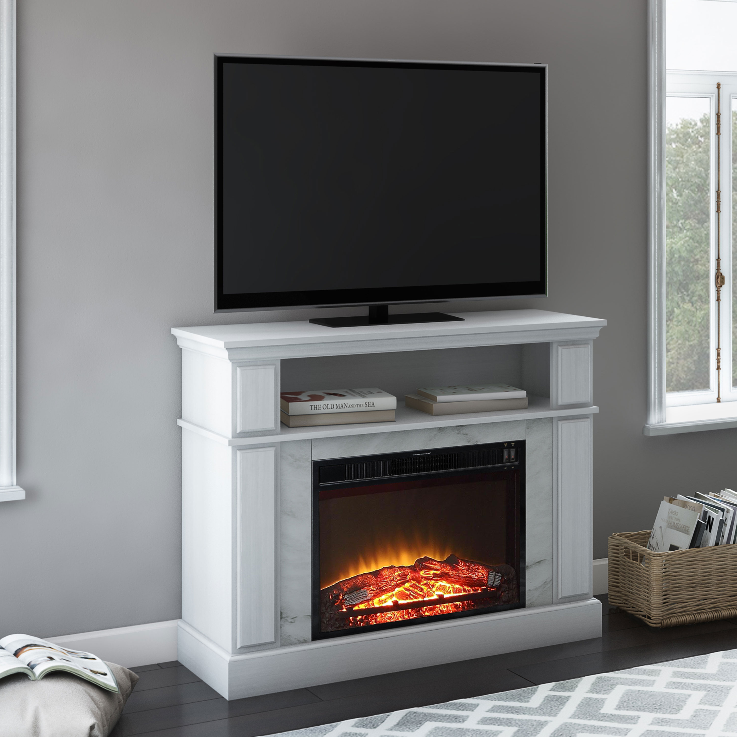 "Mainstays Loring Media Fireplace for TVs up to 50"", Multiple Finishes Available"