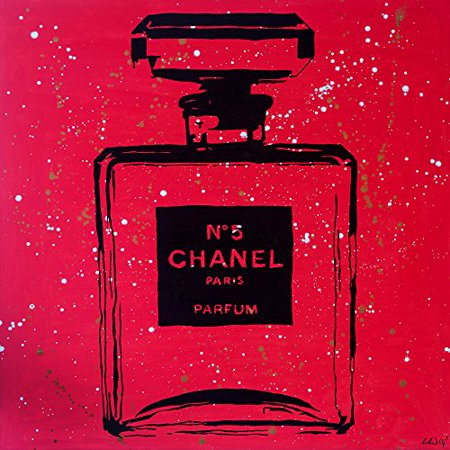 Chanel Pop Art Red Urban Chic by PopArtQueen 24x24 Art Print Poster   Pop Art Chanel Color Splash Chanel Bottle Perfume Perfum Mademoiselle Infinite Glam Night Chanel No. 5 POD - Chanel Party Decor