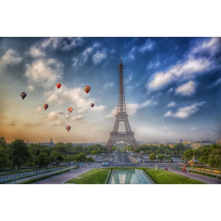 Hot Air Balloons Flying Eiffel Tower Paris France Photo Art Print Poster 18X12 Inch