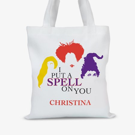 I Put A Spell On You Personalized Large Halloween Trick or Treat Tote - Halloween Treat Baskets Personalized