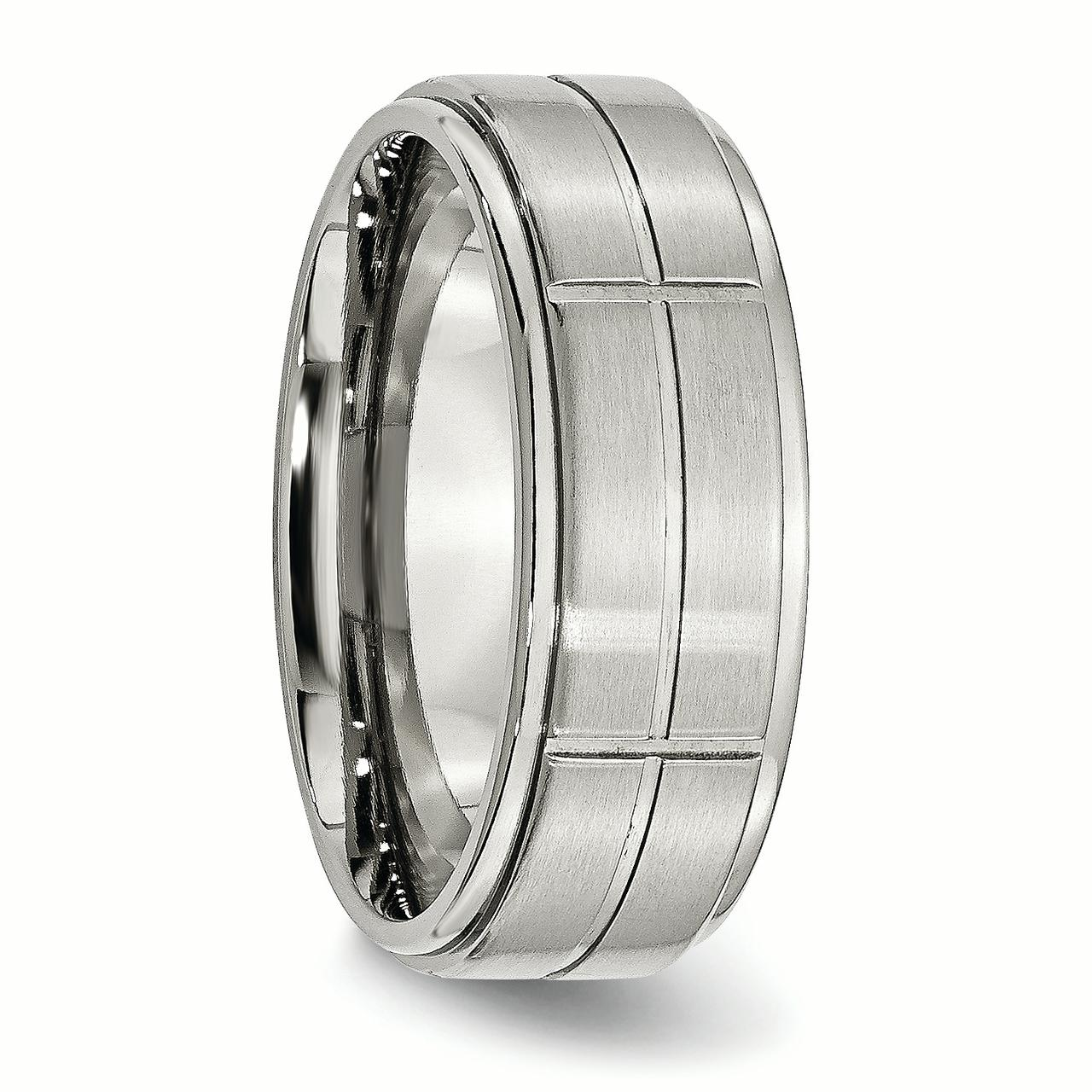 Stainless Steel Grooved 8mm Brushed/ Ridged Edge Wedding Ring Band Size 8.50 Fashion Jewelry Gifts For Women For Her - image 4 de 10