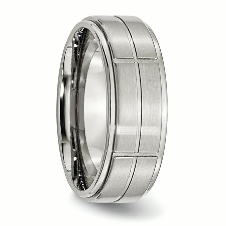 Stainless Steel Grooved 8mm Brushed/ Ridged Edge Wedding Ring Band Size 7.50 Fashion Jewelry Gifts For Women For Her - image 4 de 10