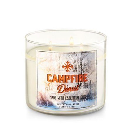 Bath and Body Works Candle 3 Wick 14.5 Ounce Campfire Donut - Halloween Candles Bath And Body Works