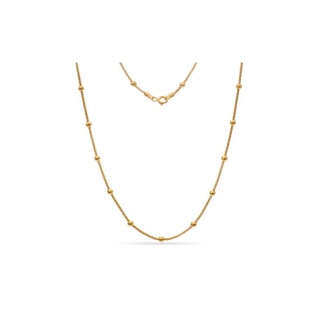 Gold Over Sterling Silver Mini Popcorn Bead Station Necklace 16 Inch - Mint Beaded Necklace