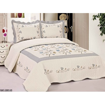 3pcs High Quality Fully Quilted Embroidery Quilts Bedspread Bed Coverlets Cover Set , Queen, Full, or Small King ()