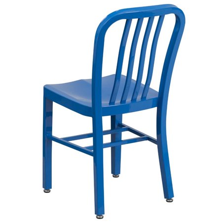 Bowery Hill Indoor-Outdoor Metal Dining Chair in Blue - image 4 of 4