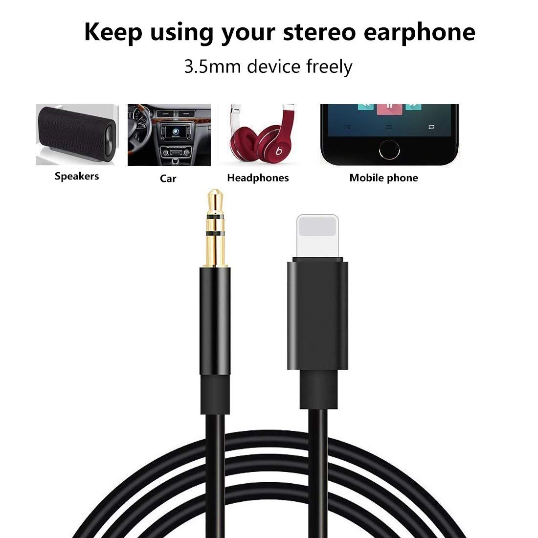 best sneakers 93821 204cd Aux Cord for iPhone XR, 3.5mm Aux Cable for iPhone 7/X/8/8 Plus/XS Max/X,  aux cable for Car Stereo or Speaker or Headphone Adapter, S10096
