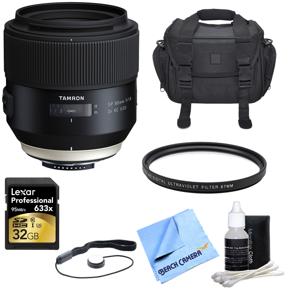 Tamron SP 85mm f1.8 Di VC USD Lens for Nikon Full-Frame DSLR Cameras with Bundle