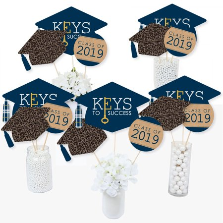 Grad Keys to Success - 2019 Graduation Party Centerpiece Sticks - Table Toppers - Set of 15 (Graduation Table Ideas)