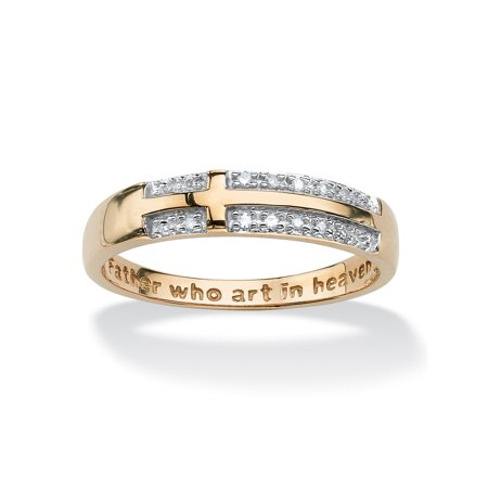 Accented Cross Ring (Diamond Accent 10k Yellow Gold Lord's Prayer Cross Ring)