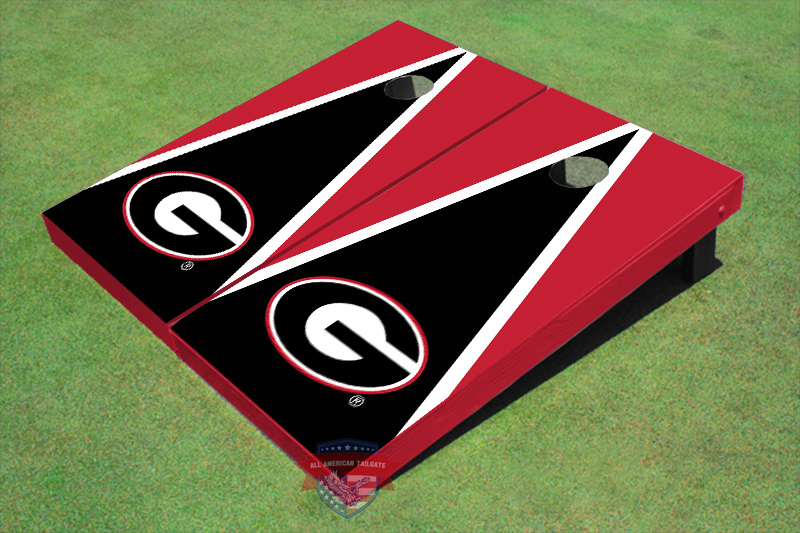 """University Of Georgia """"G"""" Black And Red Matching Triangle Cornhole Boards by All American Tailgate"""