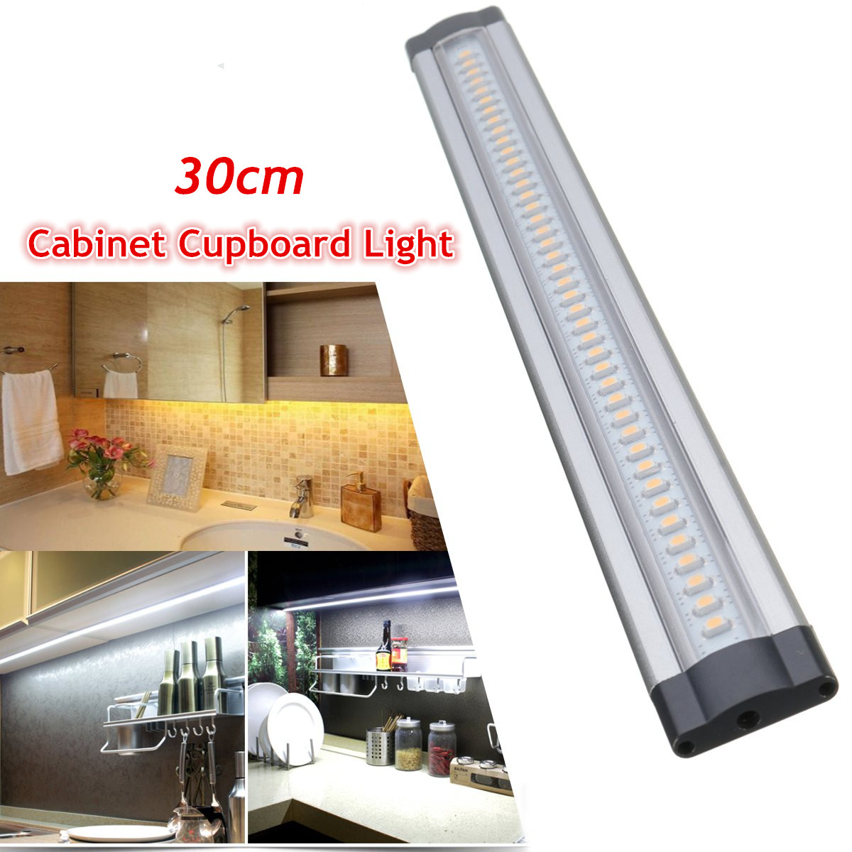 30Cm Under Cabinet Cupboard Shelf Counter LED Strip Bar Kitchen Lighting Lamp + Fitting Kits