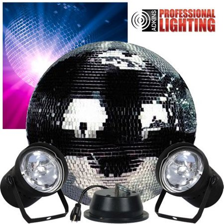 "16"" Mirror Ball Complete Party Kit with 2 Pinspots and Motor - Disco Ball"