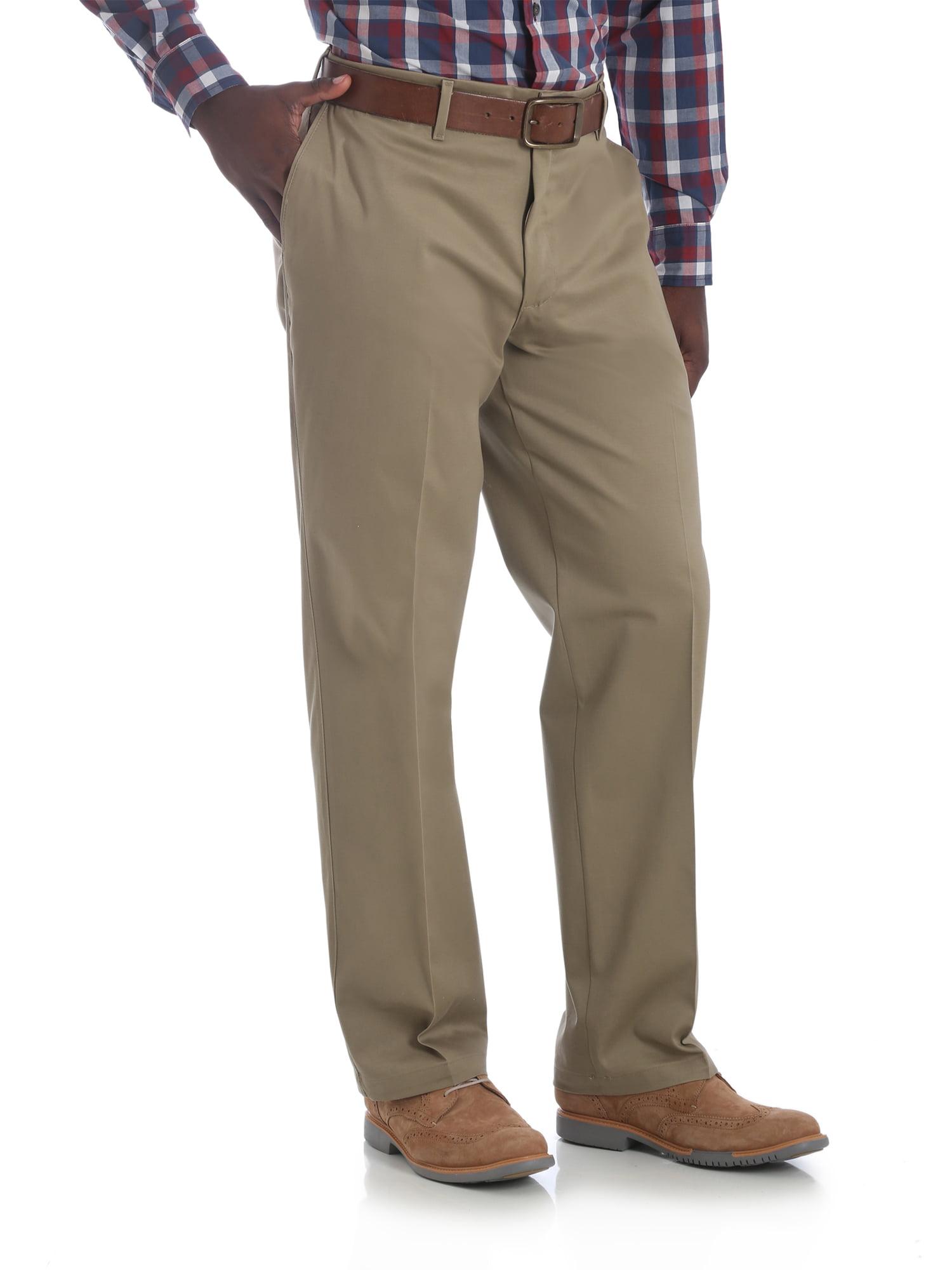 NEW George Men/'s Premium Khaki Flat Front Straight Fit Flex Fabric Dress Pants