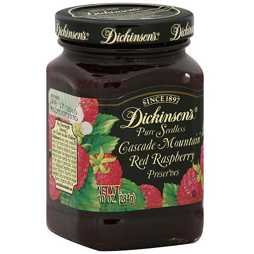 Dickinson's Cascade Mountain Red Raspberry Preserves, 10 oz (Pack of 6)