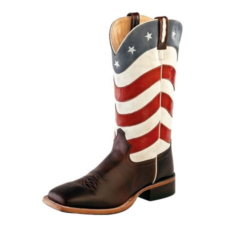 Mens Cowboy Boot - Old West Cowboy Boots Men Flag Broad Square Toe 11.5 EE Brown BSM1864