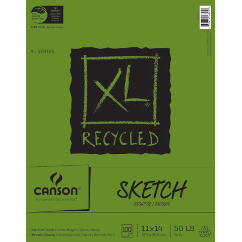Canson XL Recycled Fold Sketch Pad - 11 x 14 inches - 100 Sheets