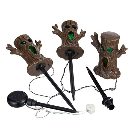 Halloween Light Activated Screamers (Way to Celebrate 3 ft, Multicolor LED Spooky Tree Lawn Stake Halloween Lights (Set of)
