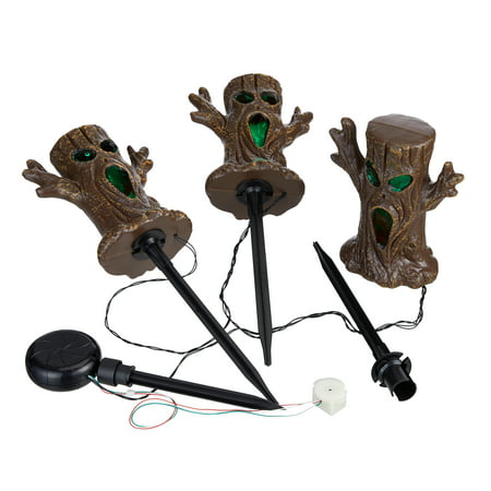 Way to Celebrate Halloween 3 Foot Spooky Tree Battery-Operated LED Light Up Lawn Stakes, Set of 3](Spooky Halloween Home Decor)