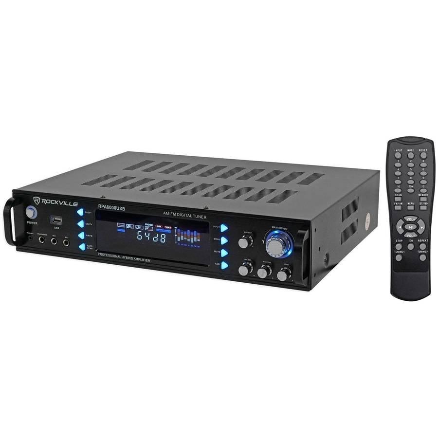 """Rockville RPA6000USB 19"""" 1000-Watt 4-Channel DJ/Pro/Karaoke Amplifier/Mixer Amp with USB"""