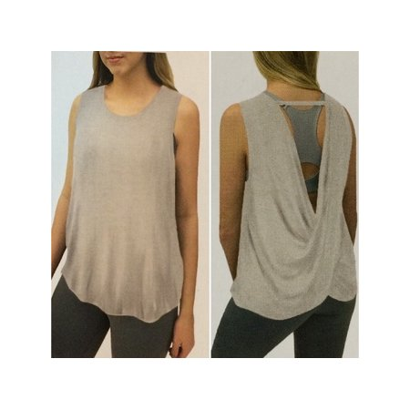 Active Life Womens Size: XX-Large Open Back Draped Activewear Tank Top, Toasted Brown Heather Life Is Good Girls Tank Top