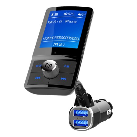 Dual Button Transmitter - 4.2 Bluetooth FM Transmitter for Car,EEEkit QC3.0 Large LCD Color display Car Adapter FM Radio Music Player with Hands-Free Calling- Dual USB Ports Charger