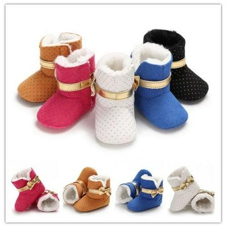 cdb86d0fd4275 0-18M Baby Kids Girls Winter Warm Fleece Knit Snow Boots Booties Crib Shoes