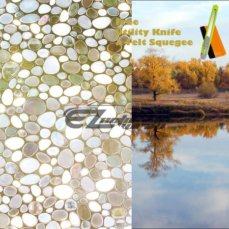 EZAUTOWRAP River Stone Frosted Glass Peel And Stick Window Film Home Bedroom Bathroom Privacy Waterproof Sticker