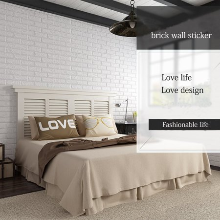 NK HOME Peel and Stick 3D Brick Wall Stickers Panels White Wallpaper Modern Background for TV Walls Sofa Background Bedroom Living Room Décor 1/5/10