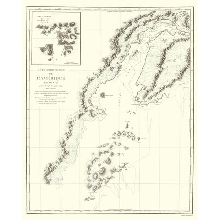 Old State Map Alaska Southern Part Depot De La Marine 1828 23