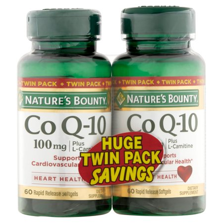 Nature's Bounty  Bounty Co Q-10 100mg Twin Pack Softgels, 60 Ct, Pack of