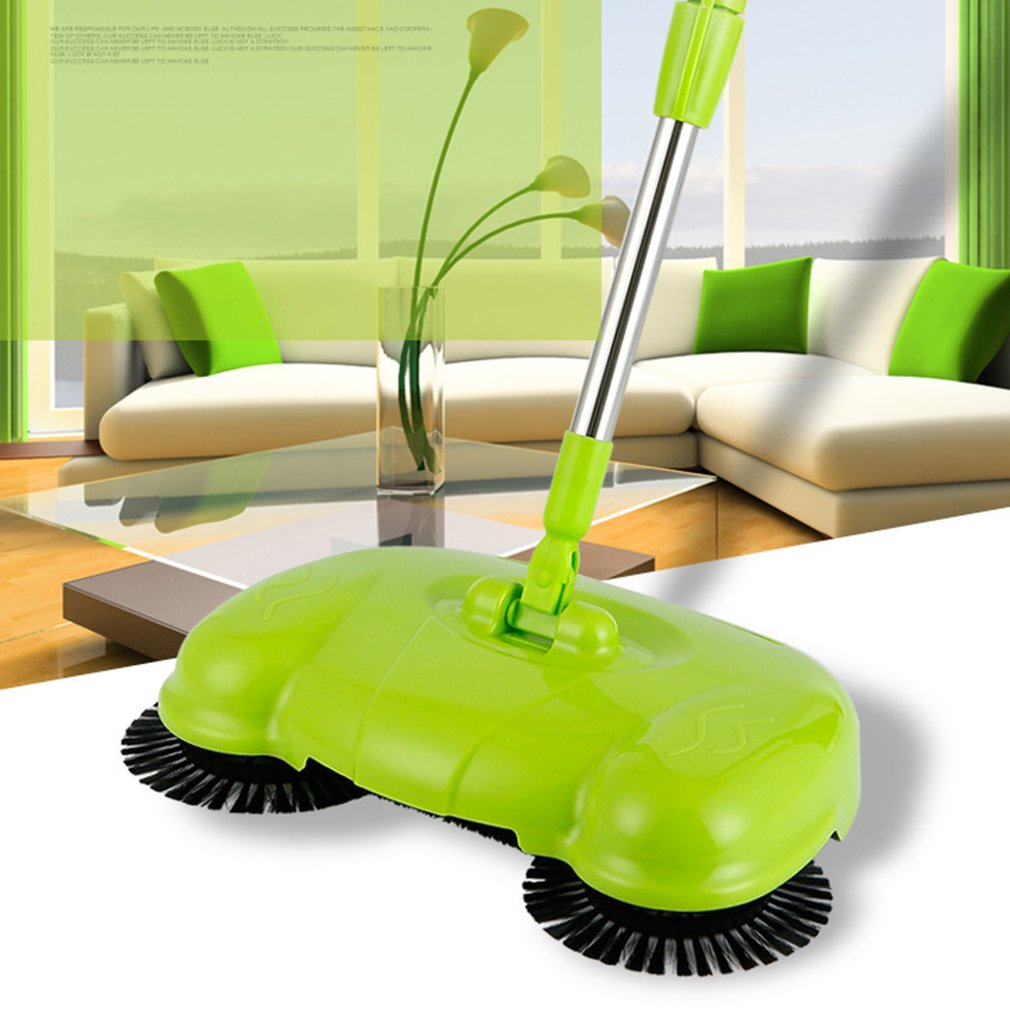 green Household Manual 3 in 1 Floor Sweeper Cleaner Hand Push Sweeper Without Electricity Dustpan Trash Bin Cleaning Tools